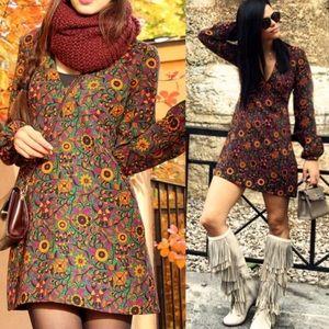 Zara | 70s Inspired Retro Floral Mini Dress